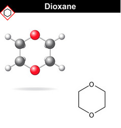 Chemical structure and model of dioxane vector image