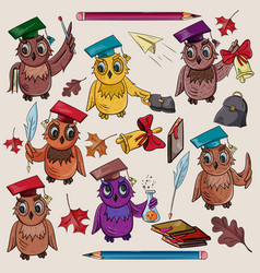 Childrens on the school theme bird owl holding a vector