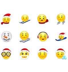 Christmas anime stickers vector image