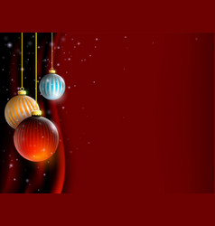 christmas balls decoration on red curtain vector image