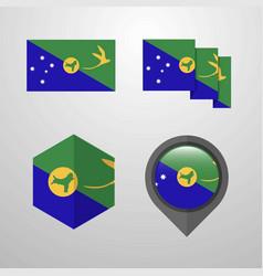 Christmas island flag design set vector