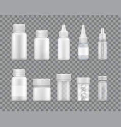 containers for liquid medications and pills set vector image