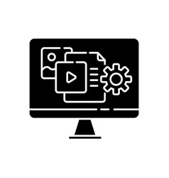 Content manager black glyph icon vector
