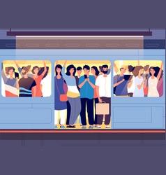 crowd in subway train people pushing each other vector image