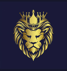 Crown gold lion logo company premium vector