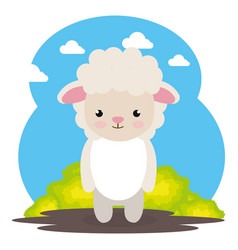 Cute sheep in the field landscape character vector