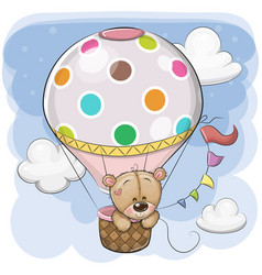 Cute teddy bear is flying on a hot air balloon vector