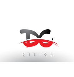 Dc d c brush logo letters with red and black vector