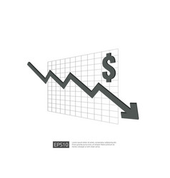 Dollar money fall down symbol with white vector