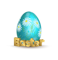 easter egg icon egg with hand draw daizy vector image vector image