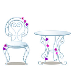 elegant wrought-iron furniture made of glass and vector image