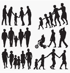 family 3 silhouettes vector image