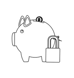 Figure pig save coins money with padlock vector