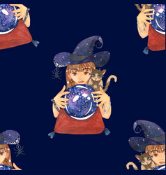 fortuneteller witch and cat with crystal galaxy vector image