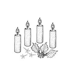 four christmas candles with holly twigs and stars vector image