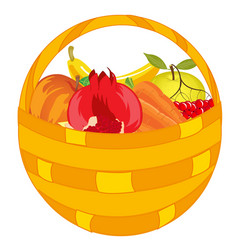 fruits and vegetables in basket vector image