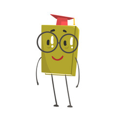 Funny smart green humanized book in a red vector