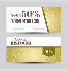Gift voucher template with mandala design vector