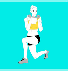 Girl is doing sports exercises with dumbbells vector