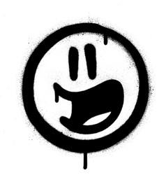 Graffiti excited emoticon sprayed in black vector