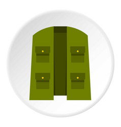 Green hunter vest icon circle vector