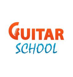 guitar school - logo for music class courses vector image