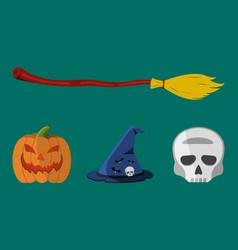 halloween icons pumpkin skull flask hat broom vector image