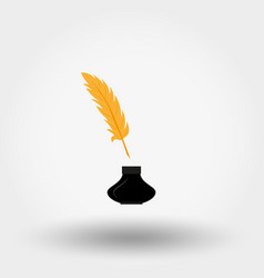 Inkwell and feather icon flat vector