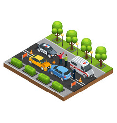 isometric car accident concept vector image