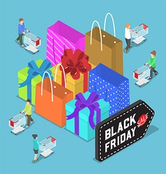 Isometric people shopping in black friday sale vector