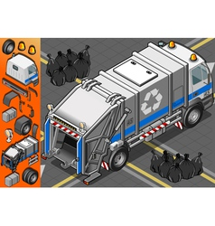 Isometric White Garbage Truck in Rear View vector