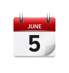 June 5 flat daily calendar icon Date and vector