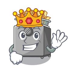 King deep fryer machine isolated on mascot vector