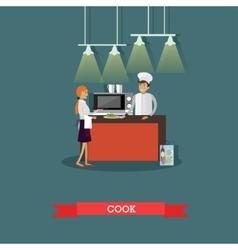 Kitchen interior in restaurant poster vector image