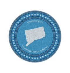 Label with map of connecticut Denim style vector
