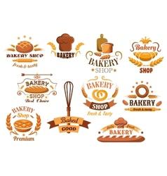 Large set of bakery labels or badges vector image