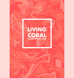 Living coral color of the year 2019 on marble vector
