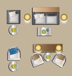 Living room furniture top view set 4 vector