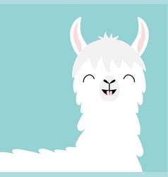 Llama alpaca head face tooth smile cute cartoon vector