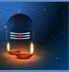 Lord shiva shivling idol with worship diya vector