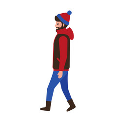 man with beard wearing warm jacket blue red hat vector image