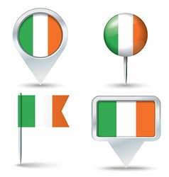 Map pins with flag of Ireland vector image