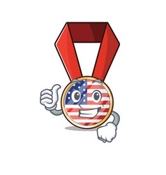 Mascot usa medal in character thumbs up vector
