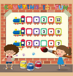 math counting game template vector image