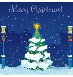 merry christmas cityscape with christmas tree vector image