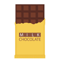 milk chocolate bar isolated on white background vector image