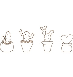 Mini cactus pot vector