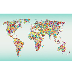 Multicolored dots world map vector