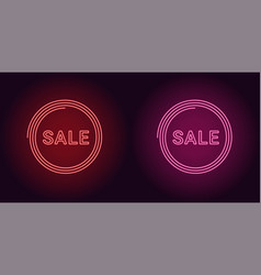 neon icon of red and pink sale badge vector image