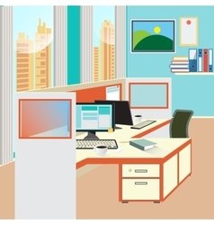 Office Work Place with Computer and Papers vector image